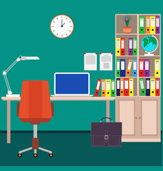 Home workplace of the businessman desk laptop vector