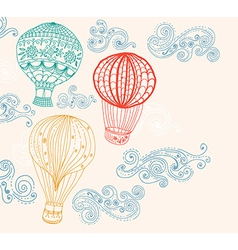 hot air balloon in sky background vector image