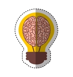 human brain organ with bulb isolated icon vector image