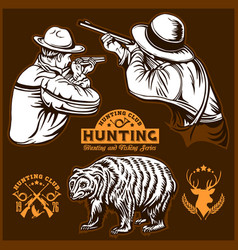 Hunters and bear - isolated vector