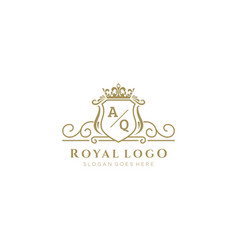 Initial aq letter luxurious brand logo template vector