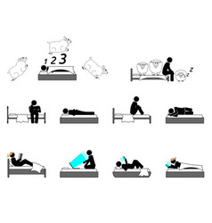 insomnia or sleeping disorder struggle vector image