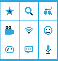 internet icons colored set with video chat emoji vector image