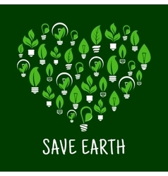 Lightbulbs like leafs in shape of heart vector image