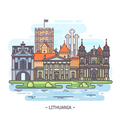 lithuanian monuments or lithuania landmark vector image
