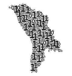 moldova map collage of binary digits vector image