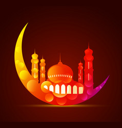 moon with a mosque in various colors vector image vector image