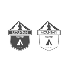 Mountain camp badge logo and label template vector
