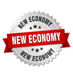 New economy round isolated silver badge vector