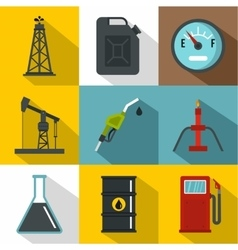Oil icons set flat style vector