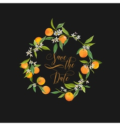 Orange and Flowers Card Fruit Background vector