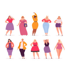 Over size woman adult fat people curvy in casual vector