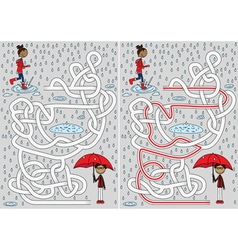 Rainy day maze vector image