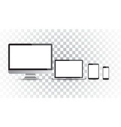 Realistic device flat icons smartphone tablet vector