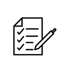 report check mark paper pen delivery icon thick vector image