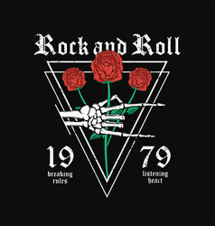 rock and roll t-shirt design skeleton hand vector image