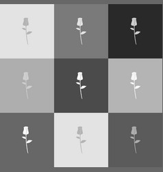 rose sign grayscale version vector image