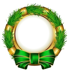 Round chrismas frame with bow vector