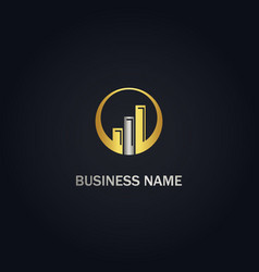 Round graph business gold logo vector