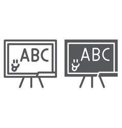 School blackboard line and glyph icon school and vector