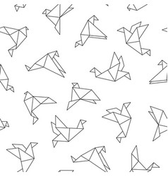 Seamless pattern with origami birds vector
