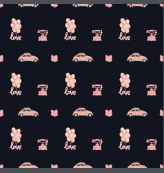 seamless pattern with romantic objects in vector image