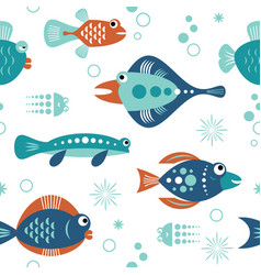 Seamless pattern with unusual beautiful fishes vector