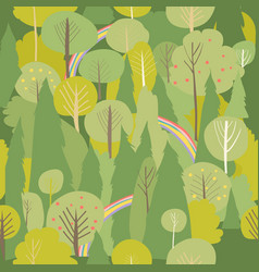 seamless summer forest pattern summer vector image