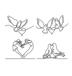 Set continuous flying two pigeons with heart logo vector