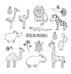 Set of black and white African animals vector image
