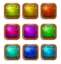 Set of bright wooden-plated glossy square buttons vector