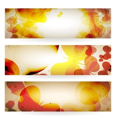 Set of grunge banners with butterflies vector image