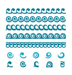 Set of wave border ornaments vector