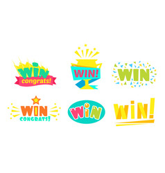 set stickers win lettering in different ways vector image