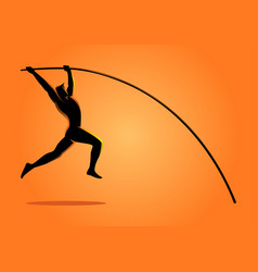 Silhouette of a pole vault athlete vector