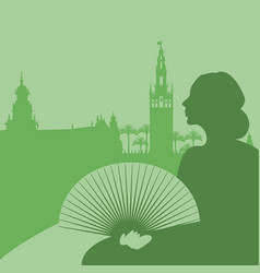 Silhouette of woman with fan palm trees and vector