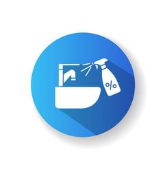 Sink tap disinfection blue flat design long vector