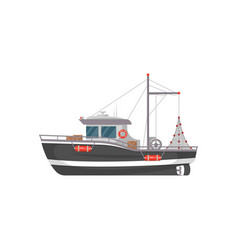 Small fishing boat side view icon vector