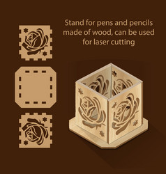 Stand for pens and pencils made of wood can be vector