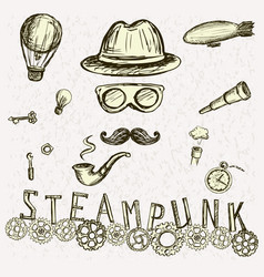 steampunk collection hand drawn vector image