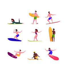 surfers persons extreme action sport activity vector image