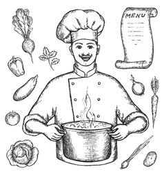 The main chef is holding a pot of vegetable soup vector image