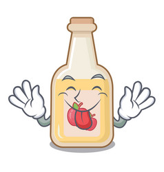 Tongue out bottle apple cider above cartoon table vector