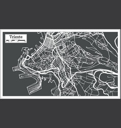 trieste italy city map in retro style outline map vector image