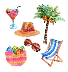 Tropical vacation travel watercolor icons set vector image