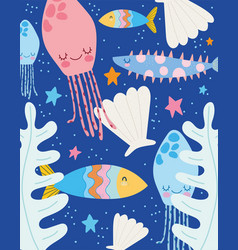 Under sea jellyfish fishes starfishes leaves vector