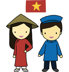 Vietnam traditional costume vector image