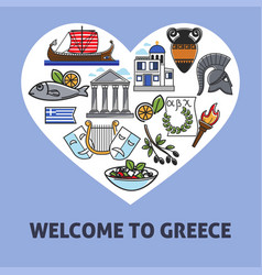 Welcome to greece greek national symbols traveling vector