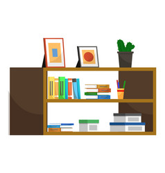 wooden shelf with books and plant in pot decor vector image