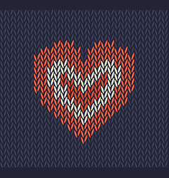 wool knitted pattern with red heart on blu vector image
